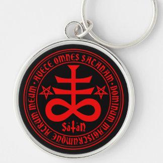 Croix satanique avec le texte et les pentagones porte-clé rond argenté