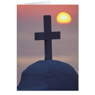 Croix sur l'église au coucher du soleil, Mykonos, Carte De Vœux