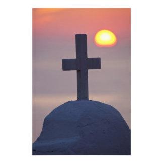 Croix sur l'église au coucher du soleil, Mykonos, Photos D'art