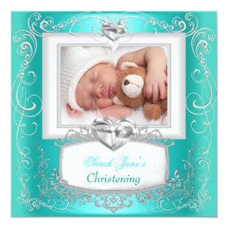 Croix turquoise de baptême de baptême de garçon de faire-part personnalisés