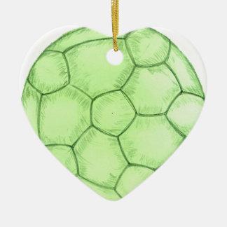 Croquis 2 de ballon de football ornement cœur en céramique