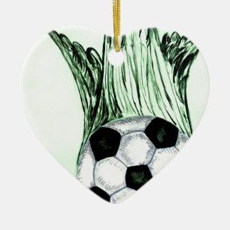 Croquis 4 de ballon de football ornement cœur en céramique