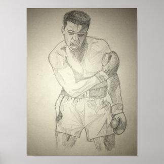 Croquis américain d'art de boxeur poster