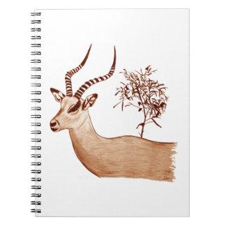 Croquis animal de dessin de faune d'antilope carnet à spirale
