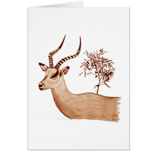 Croquis animal de dessin de faune d'antilope carte de vœux