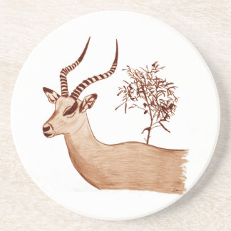 Croquis animal de dessin de faune d'antilope dessous de verres