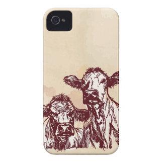 Croquis d'aspiration de main de deux vaches et cru coques Case-Mate iPhone 4