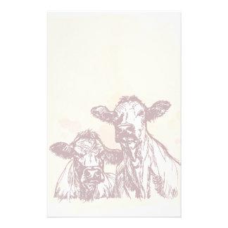Croquis d'aspiration de main de deux vaches et cru papier à lettre personnalisé