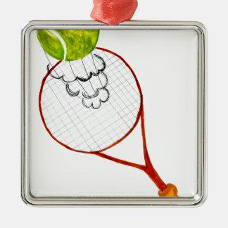 Croquis de balle de tennis ornement carré argenté