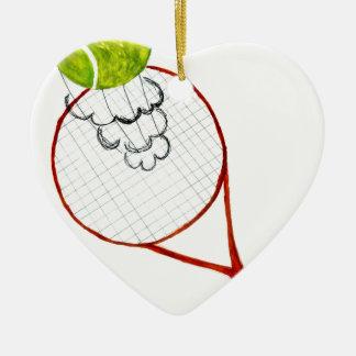 Croquis de balle de tennis ornement cœur en céramique