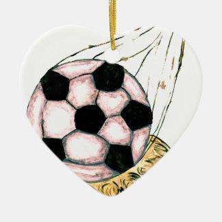 Croquis de ballon de football ornement cœur en céramique