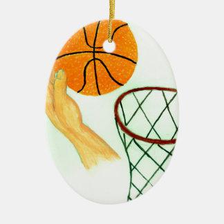 Croquis de boule de basket-ball ornement ovale en céramique