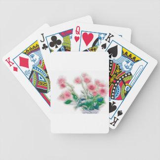 Croquis de bouquet rose cartes à jouer