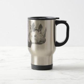 Croquis de dessin au crayon de rhinocéros de mug de voyage