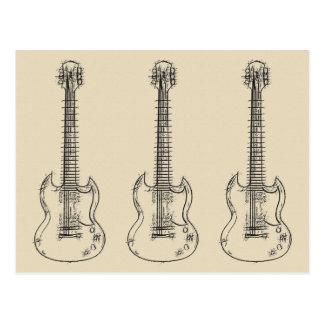 Croquis de guitare carte postale