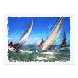 Croquis de marqueur des yachts de rotation dans carton d'invitation  12,7 cm x 17,78 cm