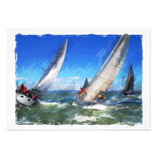 Croquis de marqueur des yachts de rotation dans le invitation personnalisable