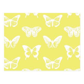 Croquis de papillon, or de moutarde et blanc carte postale