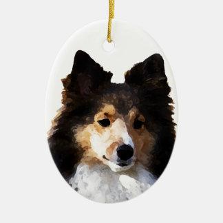 Croquis de peinture de chien de Sheltie Ornement Ovale En Céramique