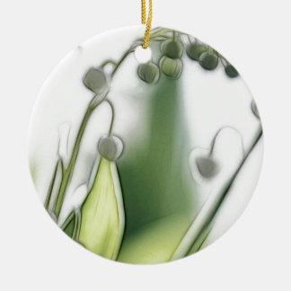 Croquis de répétition de fleur du muguet ornement rond en céramique