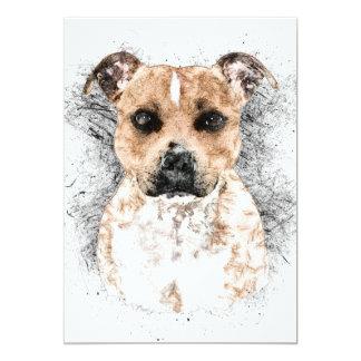 """Croquis de Terrier de pitbull sur 5"""" x 7"""" de carte"""