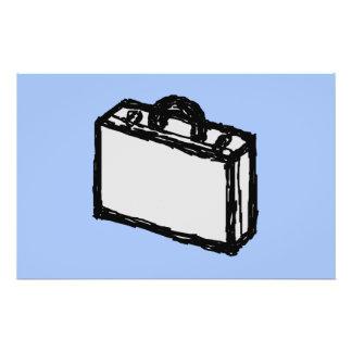 Croquis de valise de serviette ou de voyage de bur prospectus avec motif
