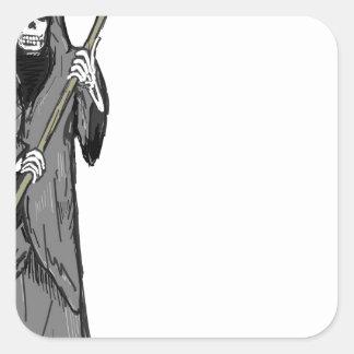 Croquis de vecteur de faucheuse sticker carré