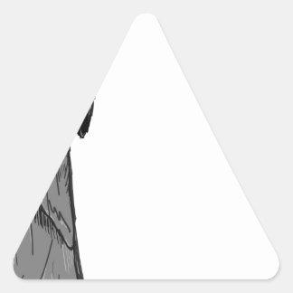 Croquis de vecteur de faucheuse sticker triangulaire