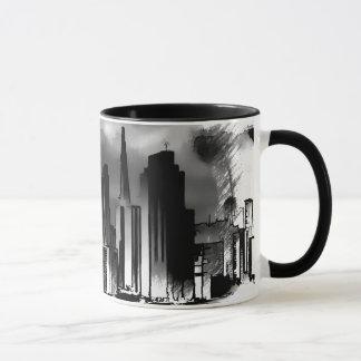 Croquis d'horizon de Chicago en noir et blanc Mug