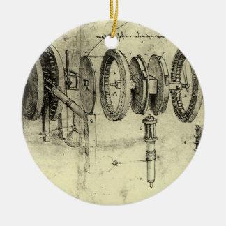 Croquis d'ingénierie d'une roue par Leonardo da Ornement Rond En Céramique