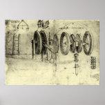 Croquis d'ingénierie d'une roue par Leonardo da Vi Posters