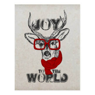 Croquis drôle frais de cerfs communs joie carte postale