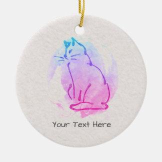 Croquis fait sur commande d'aquarelle de chat - ornement rond en céramique