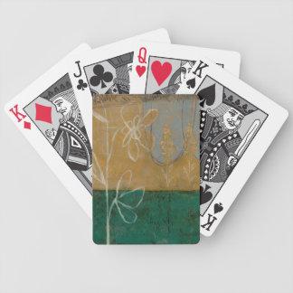 Croquis floral avec le fleur sauvage et les cartes à jouer
