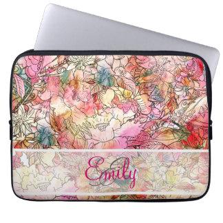 Croquis floral d'abrégé sur motif d'aquarelle de housse ordinateur portable