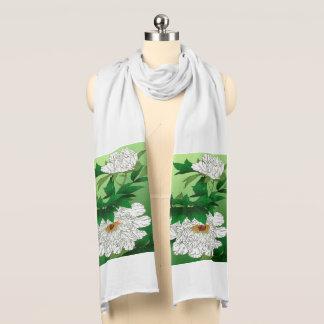 Croquis japonais vintage de grande pivoine blanche foulards