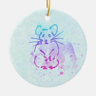Croquis mignon de hamster - personnalisez le texte ornement rond en céramique