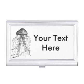 Croquis noir et blanc de crayon de méduses boîtiers pour cartes de visite