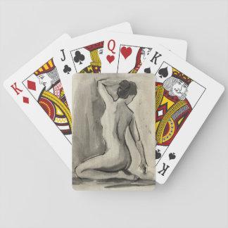 Croquis nu de corps féminin par le harpiste cartes à jouer