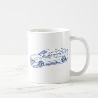 Croquis R34 2000 GTR d'horizon de NIS Mug