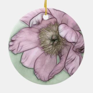 Croquis rose de fleur de pivoine ornement rond en céramique