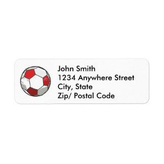 Croquis rouge de ballon de football étiquette d'adresse retour