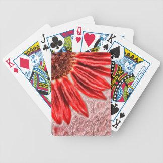 Croquis rouge de tournesol jeu de cartes