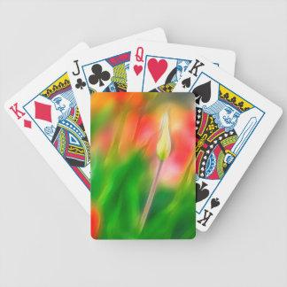 Croquis rouge et jaune vert de tulipe jeux de cartes