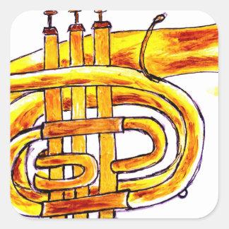 Croquis simple de trompette sticker carré