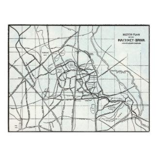 Croquis topographique du ruisseau de Hackney Cartes Postales