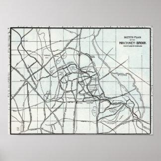 Croquis topographique du ruisseau de Hackney Poster