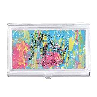 croquis vibrant d'éléphant d'éclaboussures de porte-cartes de visite