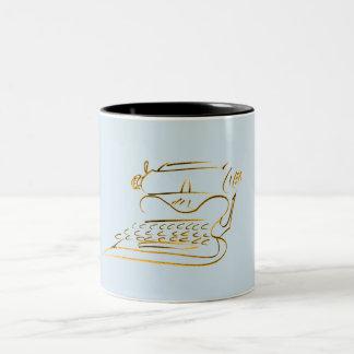 Croquis vintage de machine à écrire dans la tasse