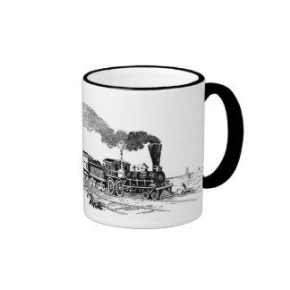 Croquis vintage de train de vapeur sur la tasse